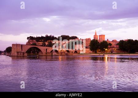 Pont St Benezet over River Rhone Avignon Provence France - Stock Photo