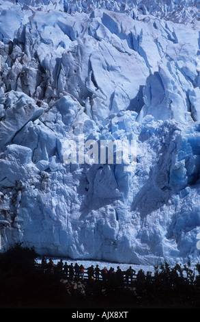 Tourists on balconies visiting Perito Moreno Glacier, Los Glaciares National Park, Patagonia, Argentina - Stock Photo