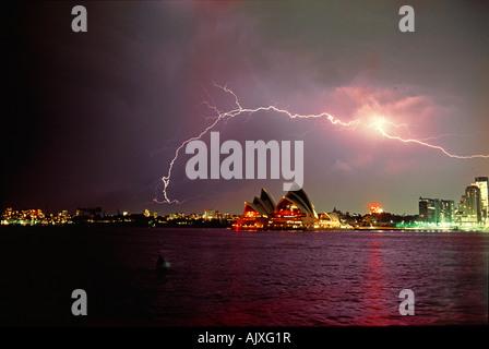 Lightning over Sydney Opera House. Australia. - Stock Photo