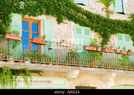 Typical provence style balcony Sault France - Stock Photo