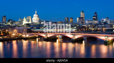 UK London View over the river thames to st Pauls Cathedral and city skyline - Stock Photo