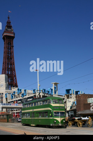 Blackpool tram and Tower. - Stock Photo