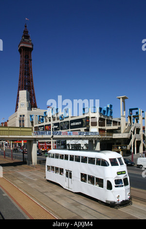Tram on Blackpool promenade near Blackpool Tower. - Stock Photo