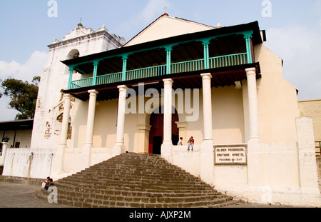 Large famous cathedral in Lake Atitlan village of San Santiago Guatemala in Central America - Stock Photo