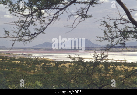Lake Magadi Kenya East Africa In the distance is Mount Shompole which is over the border in northern Tanzania - Stock Photo