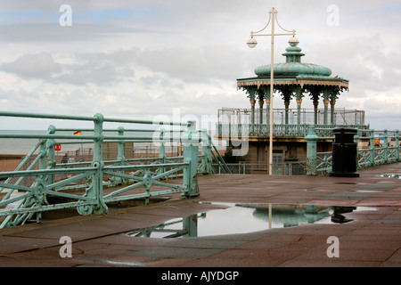 Pavilion reflected in puddle on a wet day in Brighton, England, UK - Stock Photo