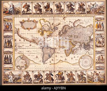 Historical map of the world. Nova totius Terrarum Orbis geographica ac hydrographica tabula by Hendrik Hondius, - Stock Photo