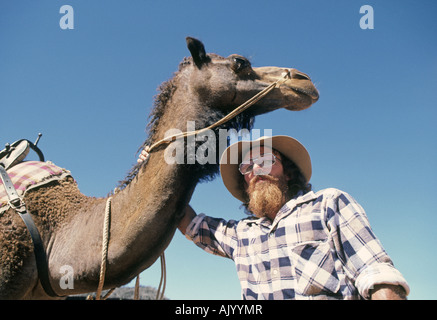 AUSTRALIA QUEENSLAND OUTBACK A camel driver on a remote cattle station in the Queensland Outback - Stock Photo