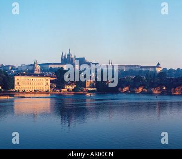 Czechia. Prague. View of city from across the Vitava River. - Stock Photo