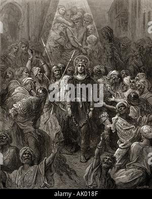 King Louis IX taken prisoner in Eygypt 1250 during the seventh crusade.  Louis IX, 1214 –1270, aka Saint Louis. King of France.