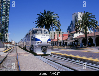 The Amtrak Surfliner a fast passenger train that runs from San Diego to Santa Barbara up the Pacific Coast - Stock Photo