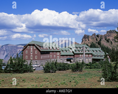 A view of the historic Crater Lake Lodge on the edge of the caldera of Crater Lake National Park, Oregon - Stock Photo
