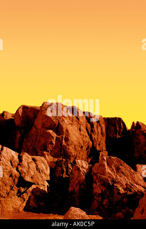 Facsmile of red cliffs on the planet Mars - Stock Photo