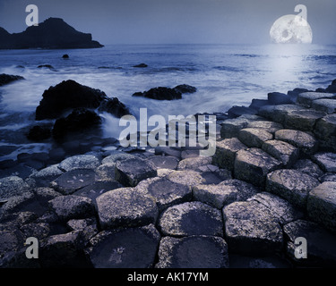 GB - NORTHERN IRELAND:  Moon at Giant's Causeway - Stock Photo