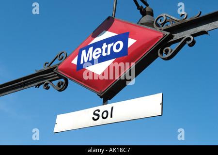 Metro Sign, Puerta del Sol, Madrid, Spain - Stock Photo
