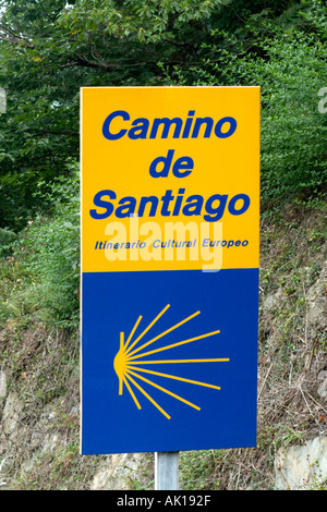 Sign for the Camino de Santiago (Way of St James) pilgrimage route, Galicia, Northern Spain - Stock Photo