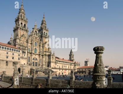 Santiago de Compostela Cathedral from the Praza do Obradoiro (Plaza del Obradoiro), Santiago de Compostela, Galicia, - Stock Photo