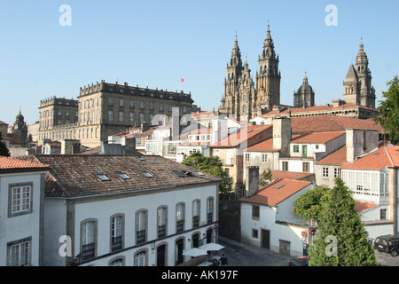 The Cathedral, Palacio de Rajoy (Pazo de Raxoi) and city rooftops in the early evening, Santiago de Compostela, - Stock Photo