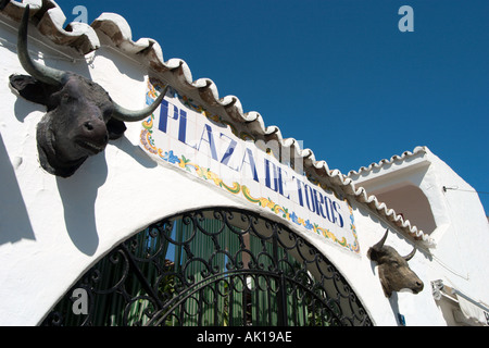 Entrance to the Plaza de Toros (Bullring) in the old town centre, Mijas, Costa del Sol, Andalusia, Spain - Stock Photo