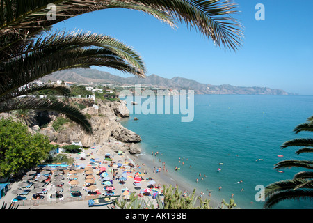 View from the Balcón de Europa in the old town , Nerja, Costa del Sol, Andalusia, Spain - Stock Photo