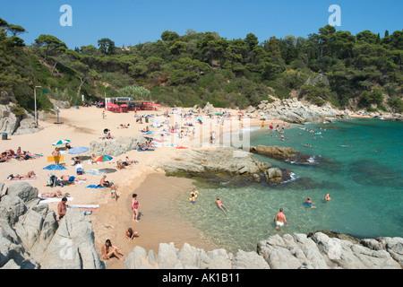 Small beach of Sa Boadella south west of Lloret de Mar, Costa Brava, Catalunya, Spain - Stock Photo