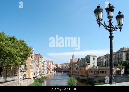 River Onyar from the Pont de Pedra, Old City, Girona (Gerona), Catalunya, Spain - Stock Photo