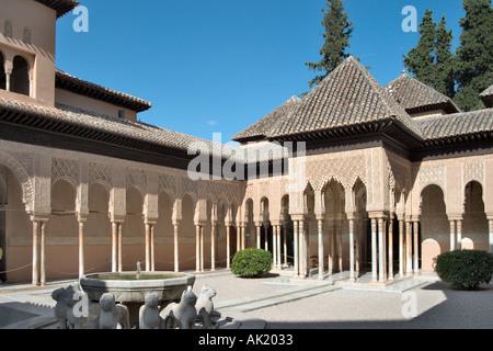 Patio de los Leones (Court of the Lions), Palacios Nazaries (Nazrid Palaces), Alhambra, Granada, Andalucia, Spain - Stock Photo