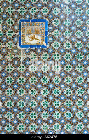 Detail of Azulejos (tiles) on a patio wall in the Casa de Pilatos (Pilate's House), Barrio Santa Cruz, Seville, - Stock Photo