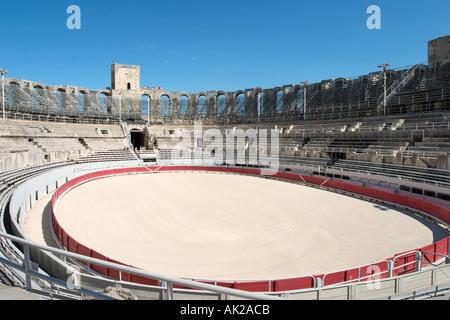 Les Arenes d'Arles (Roman amphitheatre), Arles, Provence, France - Stock Photo