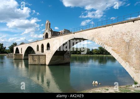 Pont d'Avignon (Pont St Benezet), River Rhone, Avignon, Provence, France - Stock Photo