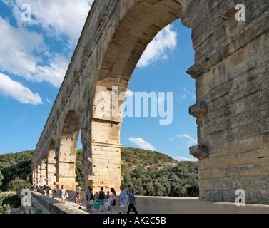 Pont du Gard Roman Aqueduct over the Gard River, Languedoc, France - Stock Photo