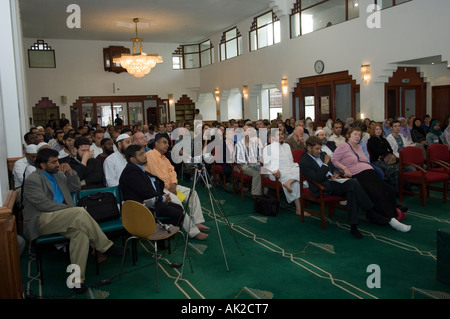 Audience at a conference in Edinburgh Central Mosque, Scotland - Stock Photo