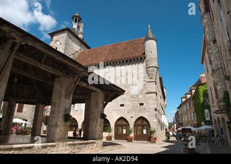 Halles and Hotel de la Raymondie, Place des Consuls, Martel, Dordogne, France - Stock Photo