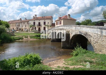 Bridge over the river in St Jean de Cole, Dordogne, France - Stock Photo