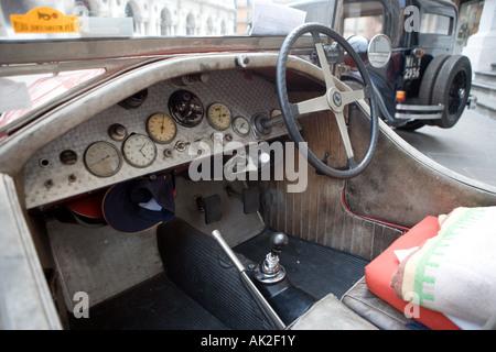 Old Lancia car interior Vicenza Veneto Italy - Stock Photo