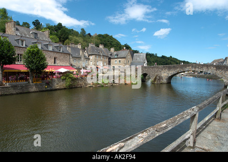 Port Area on the River Rance, Dinan, Brittany, France - Stock Photo