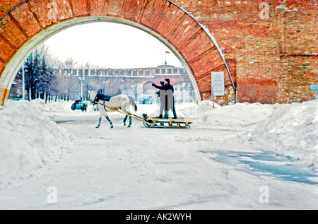Horse drawn sleigh in Novgorod city south of St Petersburgh Soviet Union in winter - Stock Photo