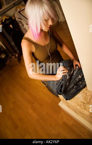 Teenage girl shopping - Stock Photo