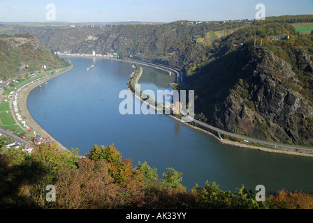 Legendary Loreley rock, Rhine valley, Germany - Stock Photo