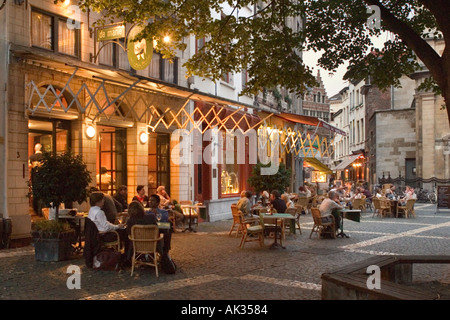 Restaurant at night in the old town, Antwerp, Belgium - Stock Photo