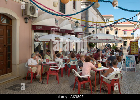 Pavement cafe in the town centre, Silves, Algarve, Portugal - Stock Photo