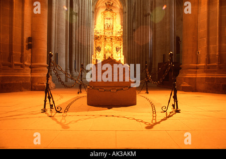 Sepulcher of Queen Blanca of Navarra (12th century). St Mary 'La Real' Monastery (12th - 15th century). Najera. - Stock Photo