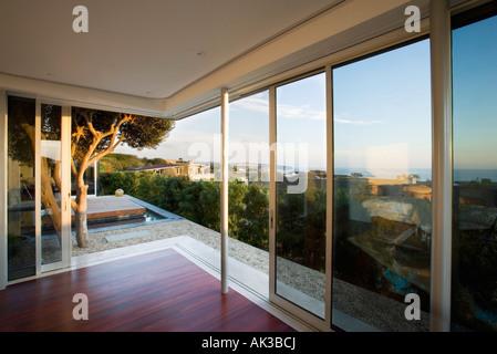Modern Living Room with Sliding Door - Stock Photo