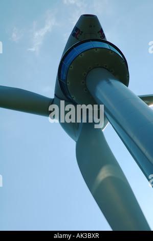 Detail of Enercon wind turbine showing public viewing platform beneath head Lichtenegg Lower Austria - Stock Photo