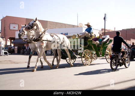Horse and carriage on the streets of Marrakesh Morocco - Stock Photo
