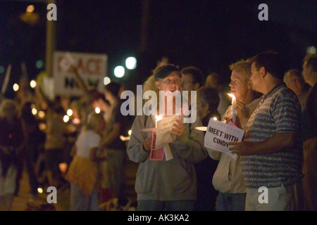 Opponents to the U S war in Iraq gather in Laguna Beach California USA on August 17 2005 - Stock Photo