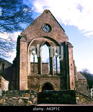 Valle Crucis 13th Century Cistercian Abbey Remains Vale of Llangollen Denbighshire North Wales UK United Kingdom - Stock Photo