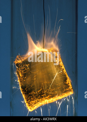 Burning Steel wool in Oxygen Environment - Stock Photo