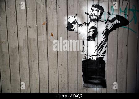 Dolk Lungren Che Guevara stencil on fence in Copenhagen, Denmark - Stock Photo