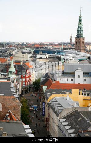 View over Copenhagen from the top of the Rundetaarn, Copenhagen, Denmark. - Stock Photo